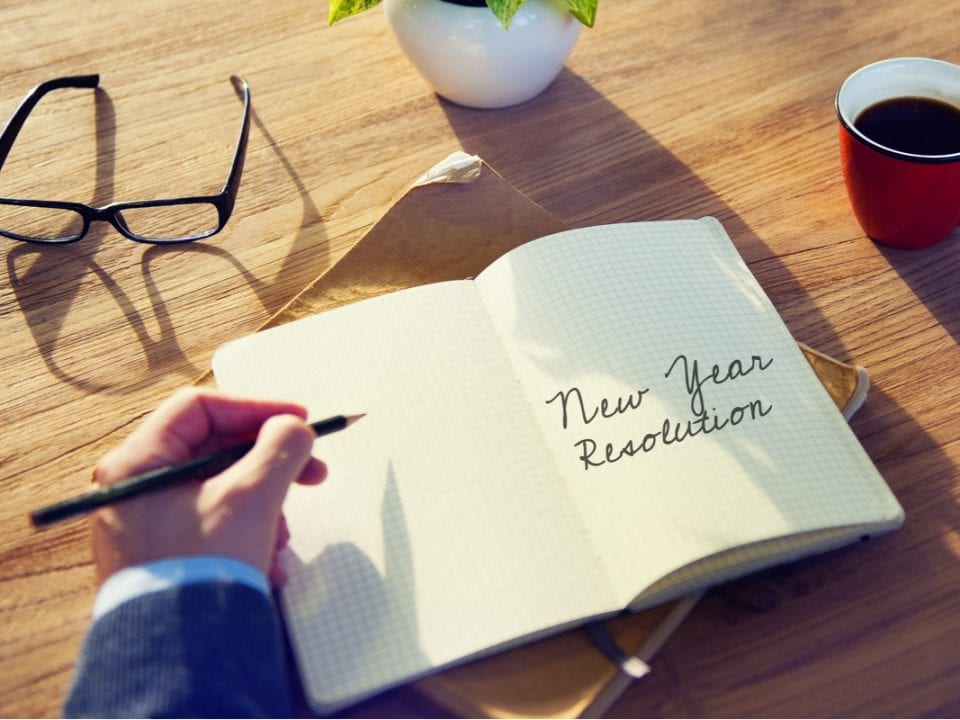 New Year Resolution written in a book