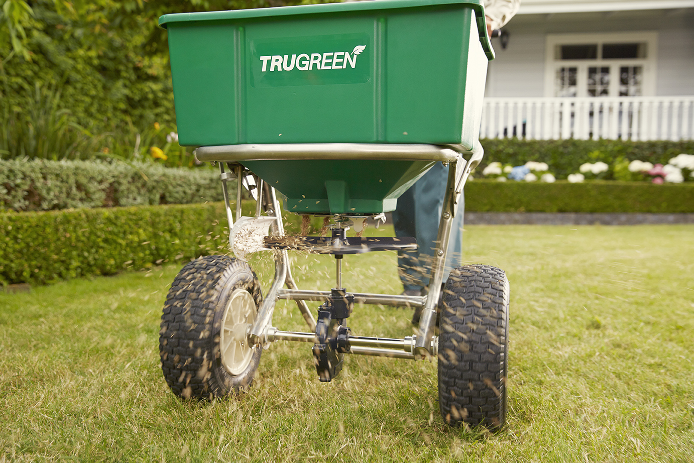 The spreader in lawn used by Trugreen for distributing seeds and fertilizer