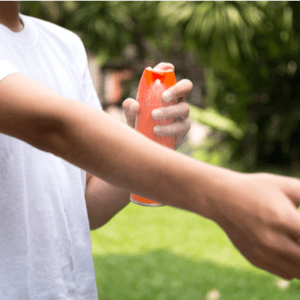 mosquito repellant being applied